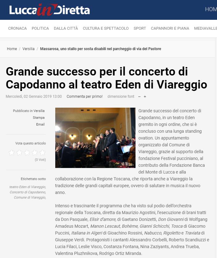 RECENSIONE LUCCAIN DIRETTA concerto 1 gennaio 2019