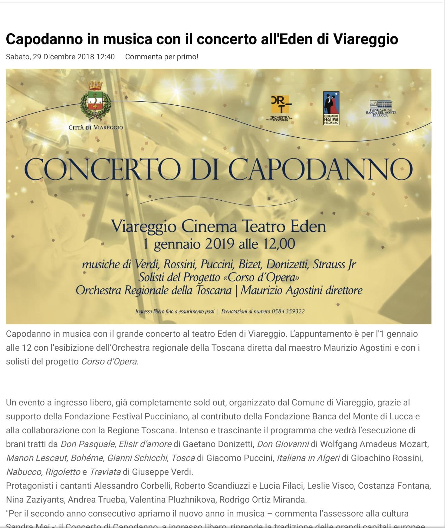 Capodanno in musica con il concerto all'Eden di Viareggio - Lucca in Diretta-1