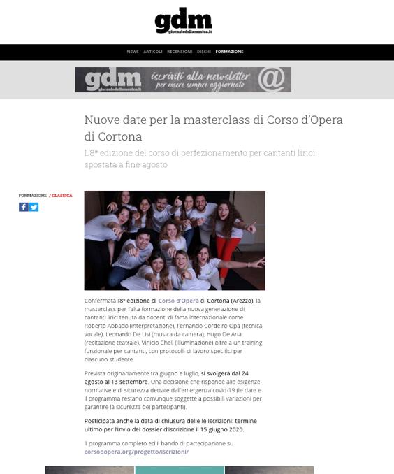 GIORNALE DELLA MUSICA - Aprile 2020